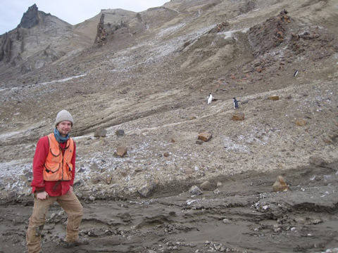 Chris in Antarctica doing fieldwork